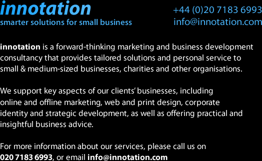 Innotation Ltd - London marketing consultants providing online marketing, web design, corporate identity, business advice